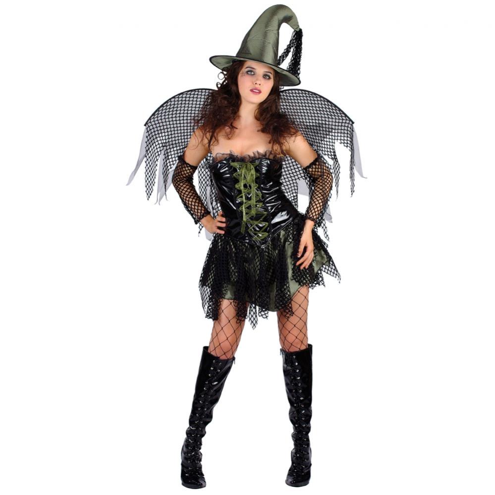 stile attraente trova fattura Guantity limitata Dettagli su Costume Carnevale Donna Da Strega Gotica Ali Abito Vestito Di  Halloween Adulto